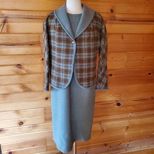 1950s Pendleton Virgin Wool Green/Gray Dress & Bla